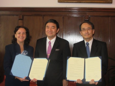 Vice-Rector Magdalena Iordache-Platis, Japanese Ambassador to Romania Kisaburo Ishii, and Vice-President Takashima at the signing ceremony at the University of Bucharest